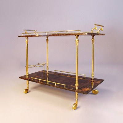 Serving Trolley by Aldo Tura for Tura