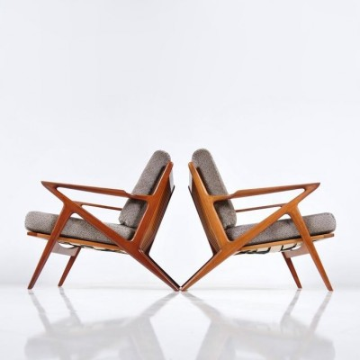Superbe Pair Of Z Lounge Chairs By Poul Jensen For Selig Denmark, 1950s