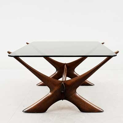 X Base coffee table by Illum Wikkels, 1950s