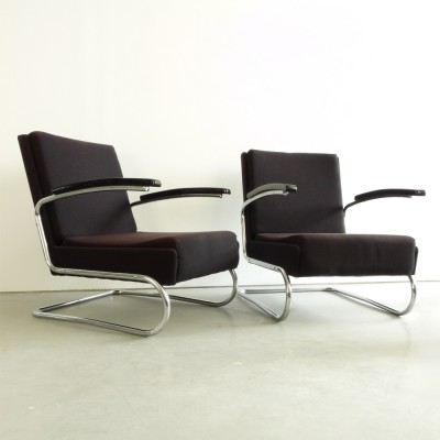 Pair Of S 411 Lounge Chairs By Thonet 1940s