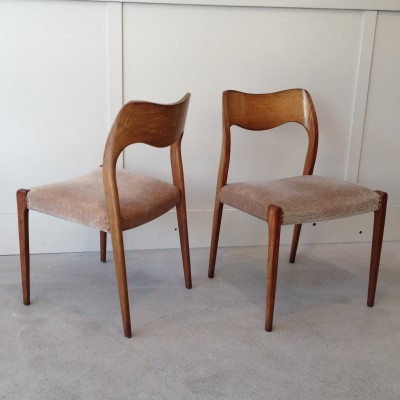 set of 3 model 71 dinner chairs by niels otto møller for møller