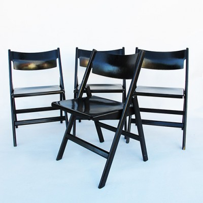 Set of 4 Klappstuhle dining chairs by Hans Eichenberger for Dietiker Swiss, 1960s