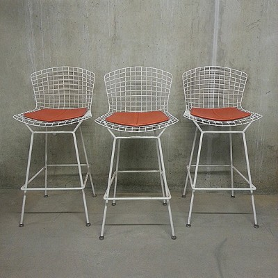 3 X Wire Bar Stool By Harry Bertoia For Knoll 1950s