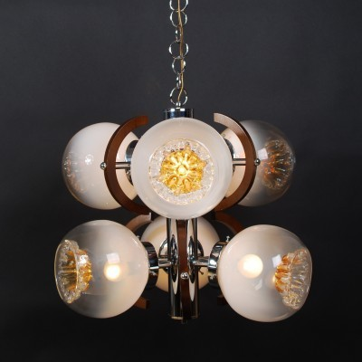 Mazzega Murano glass hanging lamp with 6 shades, 1960s