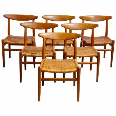 Set of 6 W2 dining chairs by Hans Wegner for Madsen & Schubell, 1950s