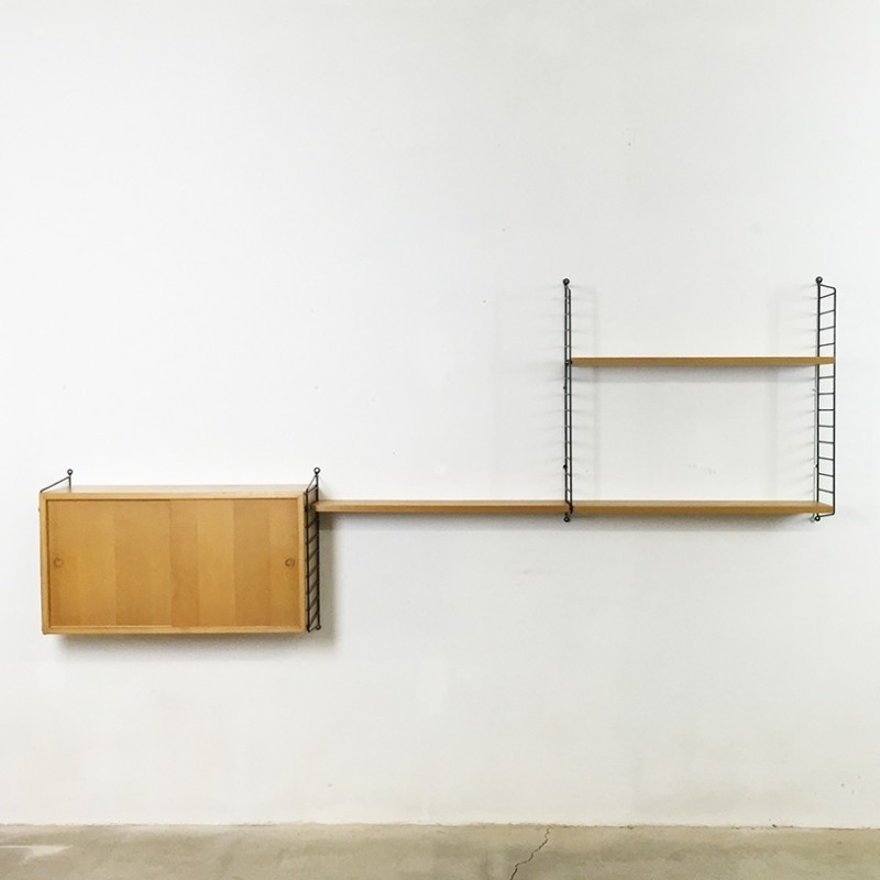String Ash Wood Wall Unit by Nisse Strinning for String Design AB