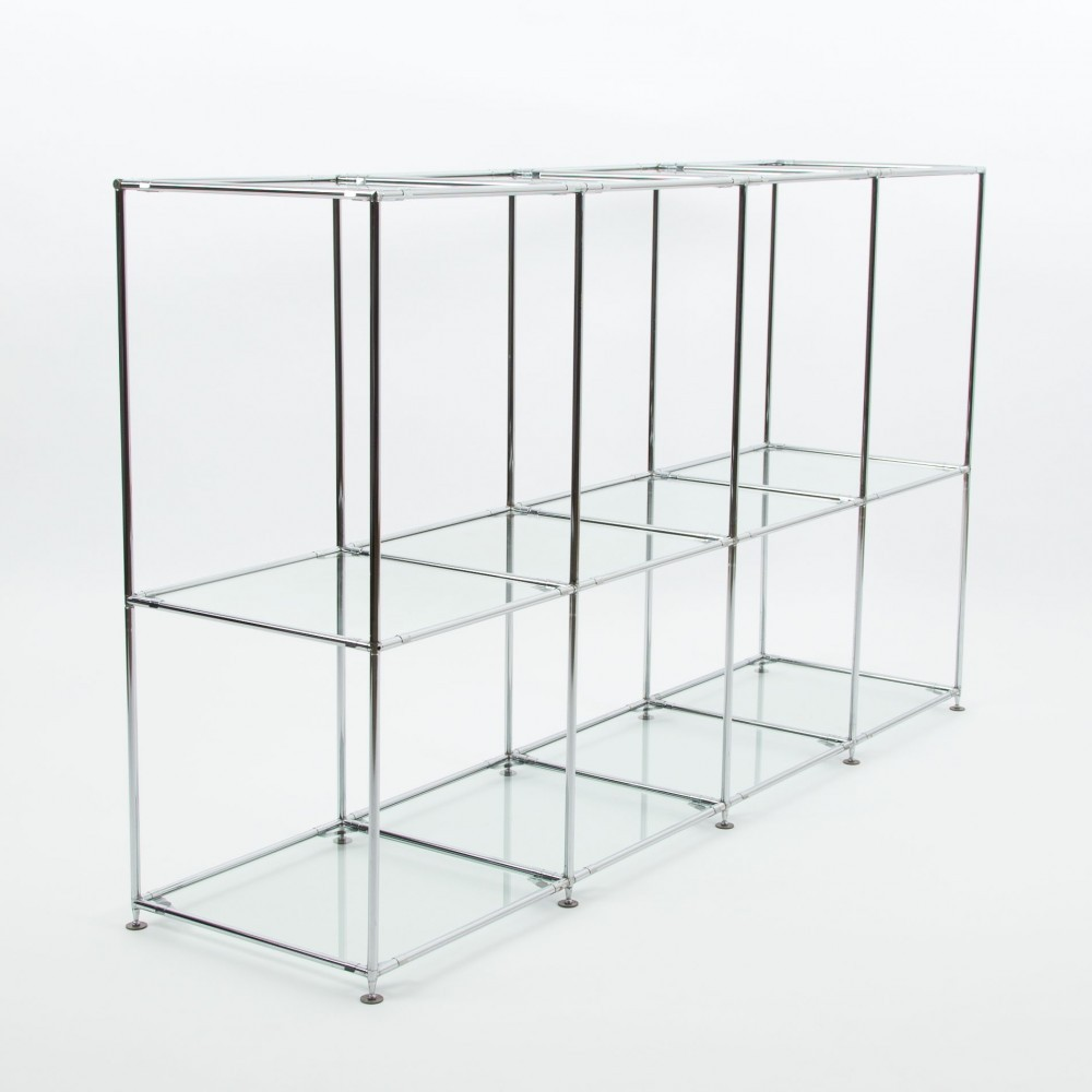 Roomdivider by Poul Cadovius with glass & chrome-plated steel