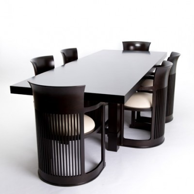 set of 6 barrel dinner chairs by frank lloyd wright for cassina 1920s