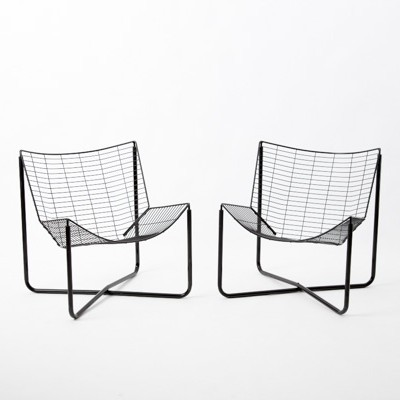 Pair Of Wire Lounge Chairs By Niels Gammelgaard For Ikea, 1980s
