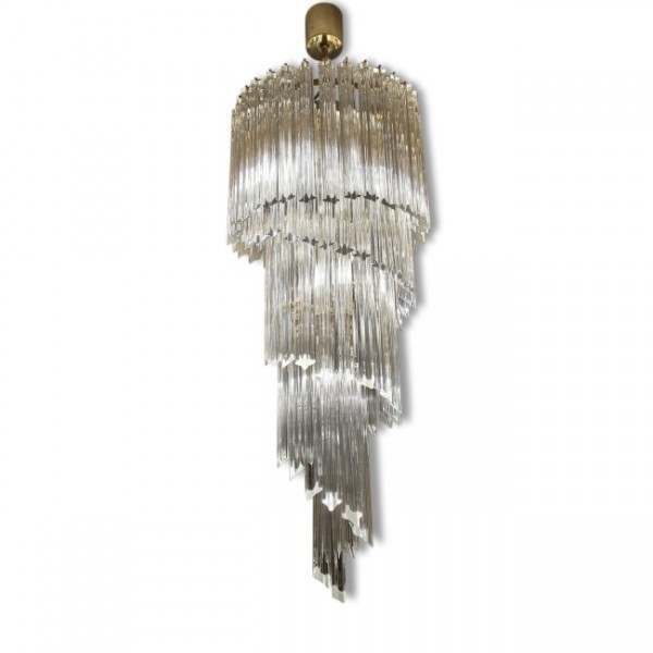 Murano Spiral Chandelier: Cascading Spiral Chandelier Hanging Lamp By Paolo Venini