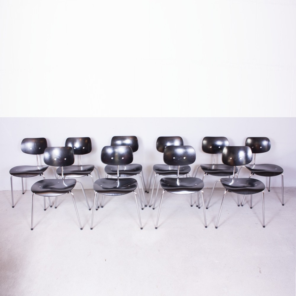 set of 10 se68 dinner chairs by egon eiermann for wilde. Black Bedroom Furniture Sets. Home Design Ideas