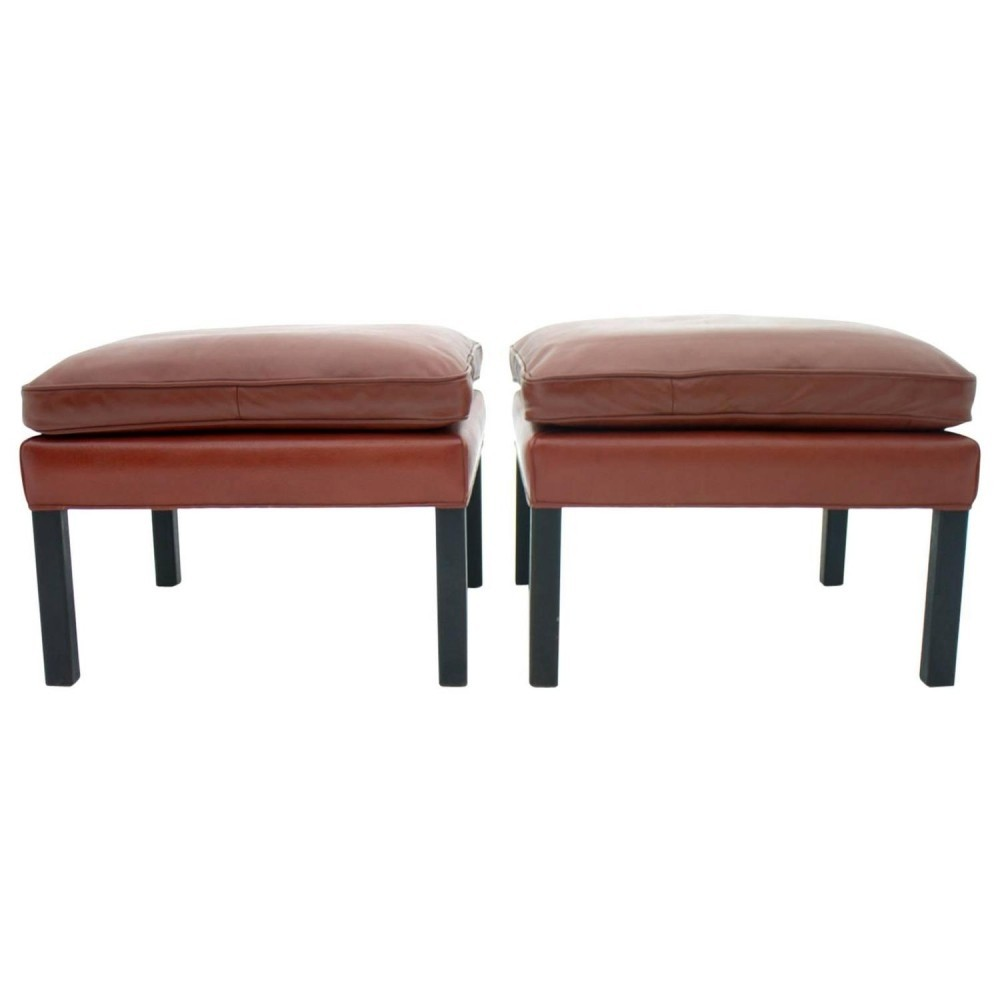 Pair of Leather Stools by Børge Mogensen, Denmark