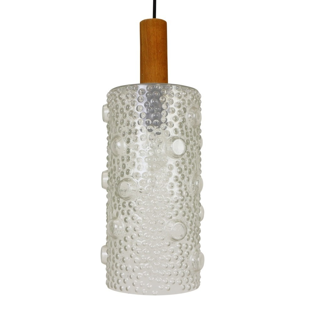 Large Cylindrical Bubbled Glass Pendant Hanging Lamp