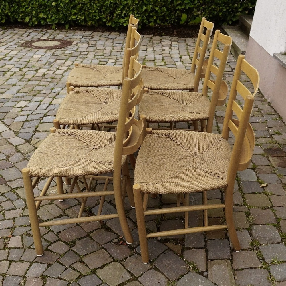 Set Of 6 Church Chair | With Tray Dinner Chairs By Kaare Klint For Fritz  Hansen, 1950s