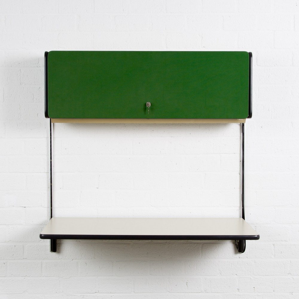 wall office desk. Apple Office Desk With Green Fabric Covered Flap By George Nelson For Herman Miller Wall