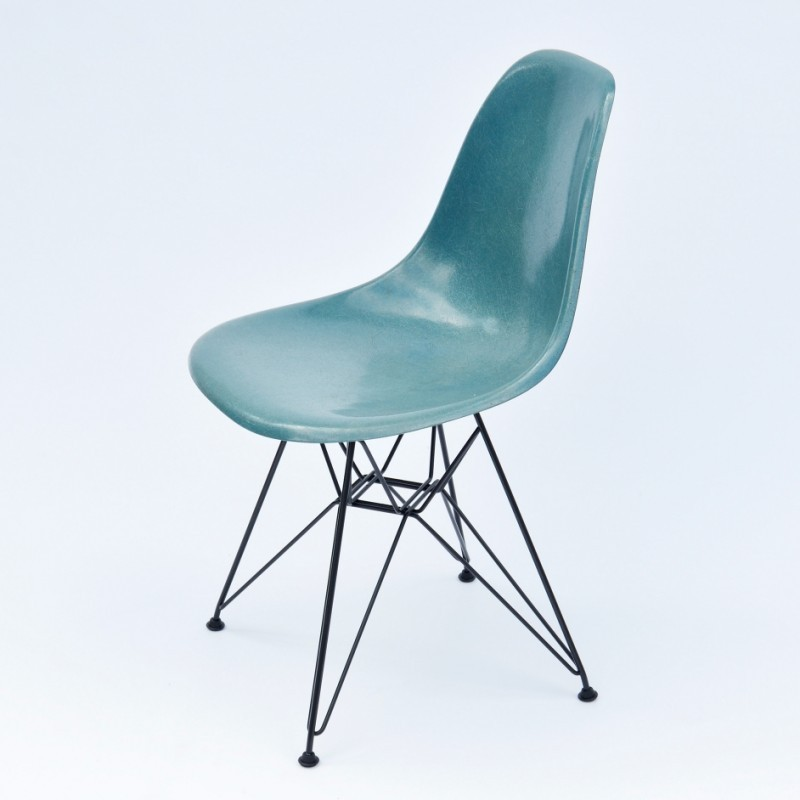 DSR Dining Side Chair Fiberglass Turquoise Dinner Chair by Charles and Ray Eames for Herman Miller