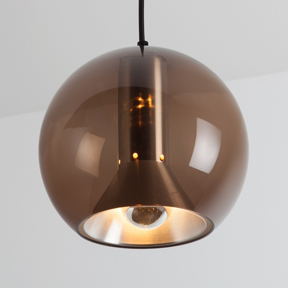 2 Globe (B-1040.20) hanging lamps from the sixties by Frank Ligtelijn for Raak Amsterdam