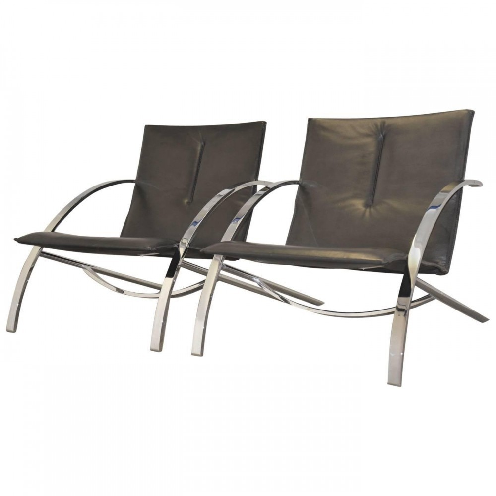 Set of 2 Arco lounge chairs from the seventies by Paul Tuttle for Strässle