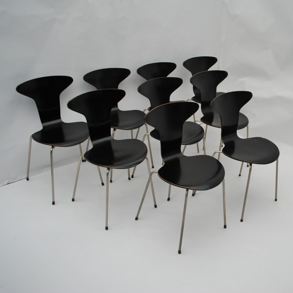 Set Of 7 3105 Mosquito Dinner Chairs By Arne Jacobsen For Fritz Hansen,  1950s