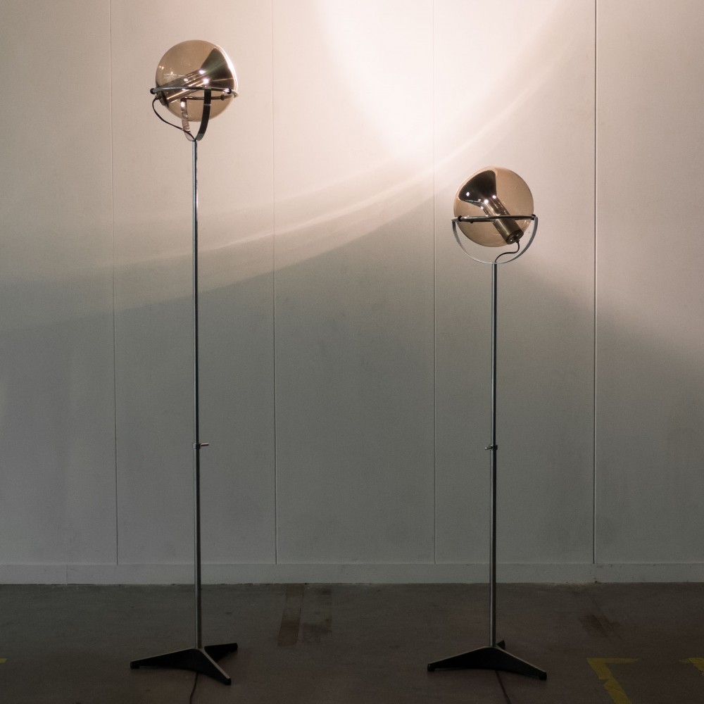 Set of 2 Globe floor lamps from the sixties by Frank Ligtelijn for Raak Amsterdam