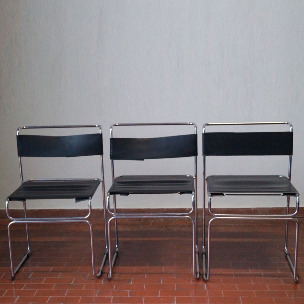 Set of 3 dining chairs by Giovanni Carini for Planula, 1970s