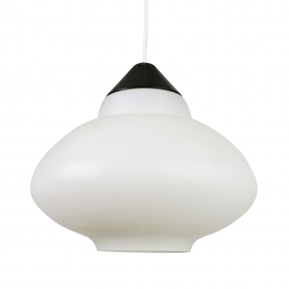black white milk glass pendant by philips holland 1960s 52504
