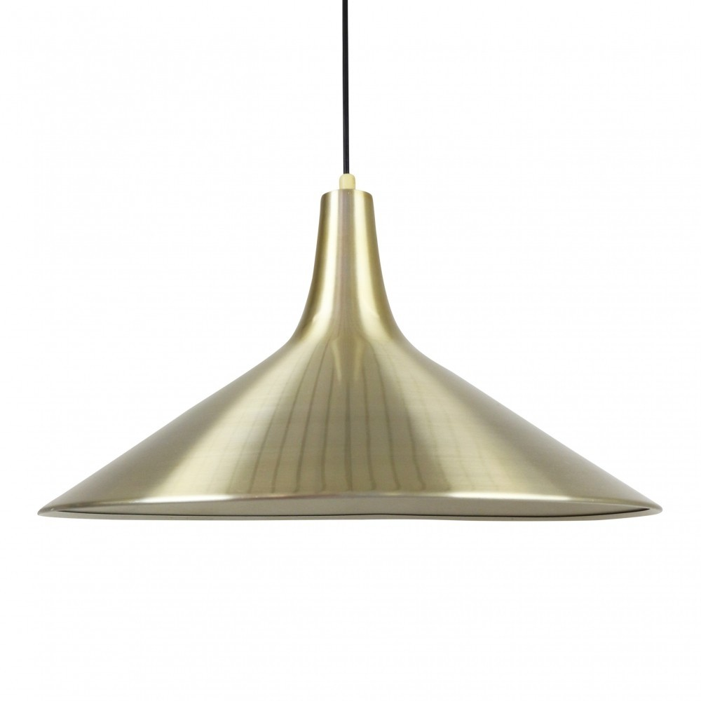 Brass colored aluminium pendant from the sixties