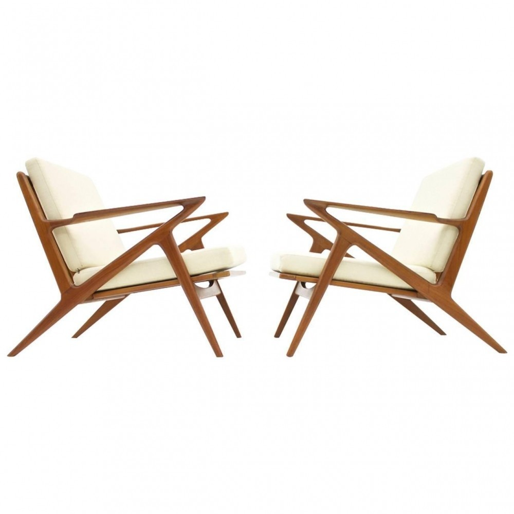 Pair Of Z Lounge Chairs By Poul Jensen For Selig 1960s