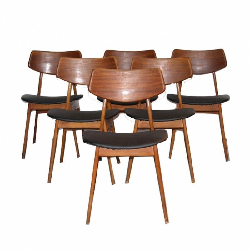 6 dinner chairs from the fifties by Louis van Teeffelen for Wébé