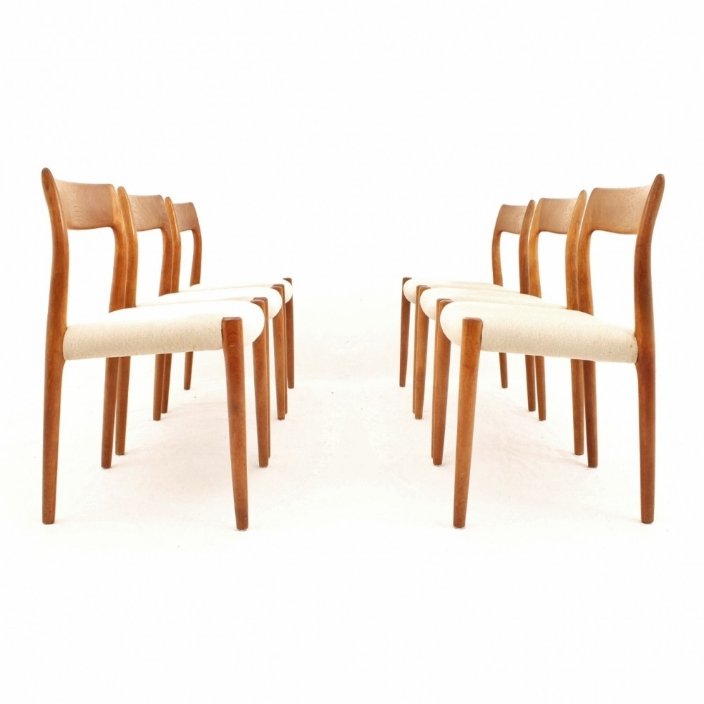 Danish Design Teak Dining Chairs In Creme White Fabric By Niels Møller For  J.L. Møller
