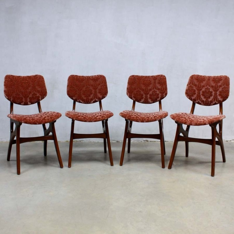 Set of 4 dinner chairs from the sixties by Louis van Teeffelen for Wébé