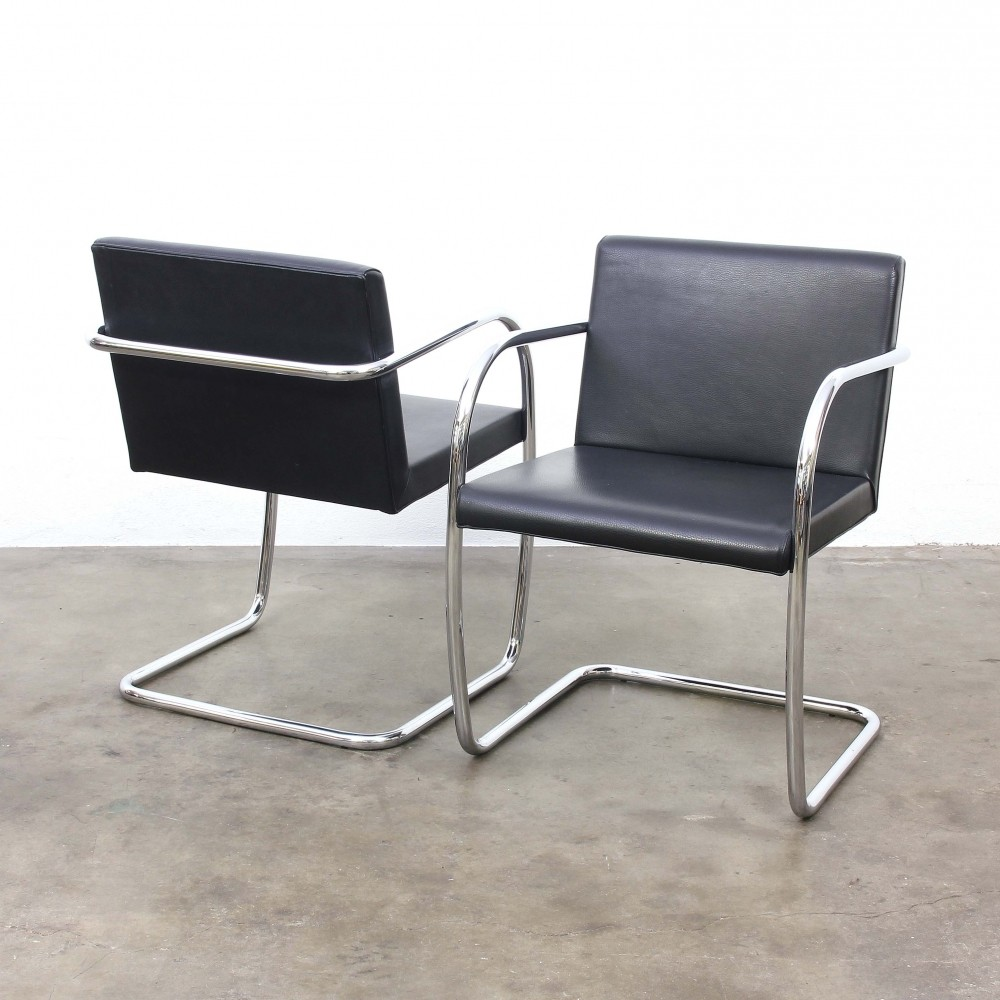 4 x brno arm chair by ludwig mies van der rohe for fasem 1930s 56753. Black Bedroom Furniture Sets. Home Design Ideas