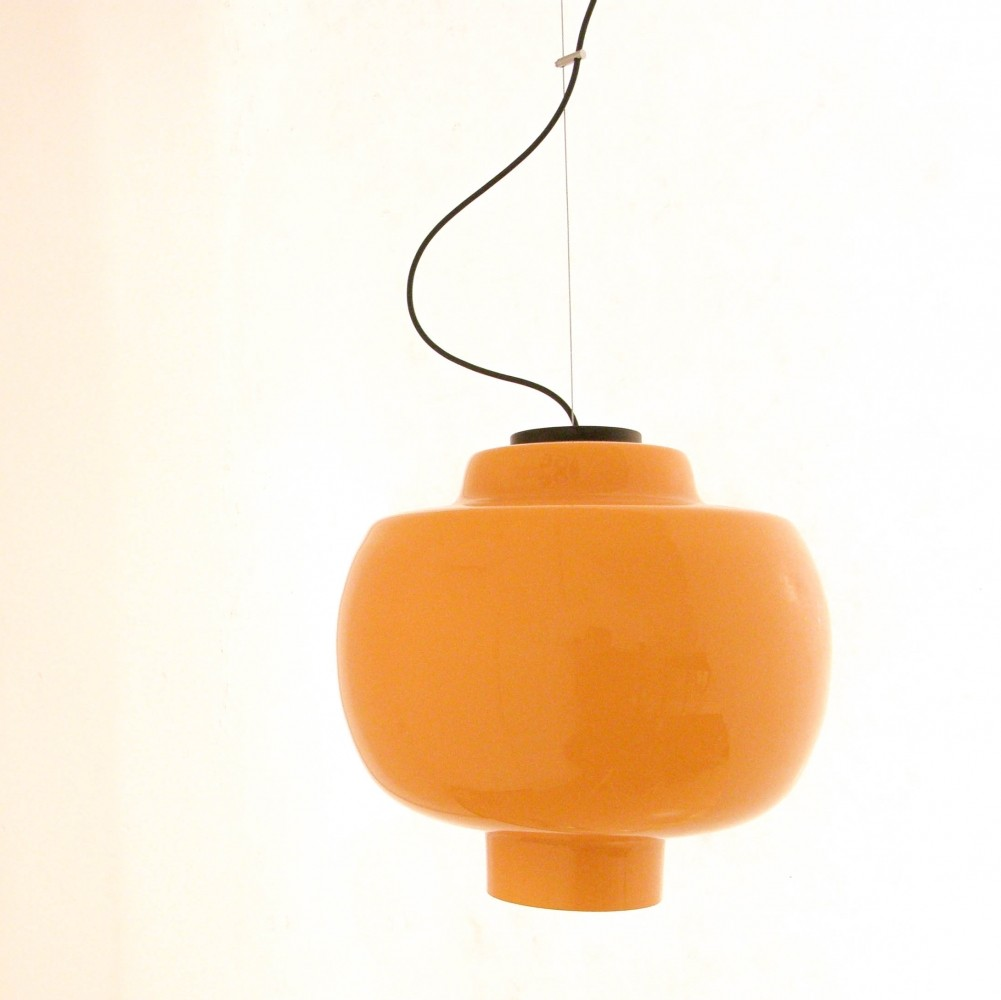 Orange hanging lamp - Hanging Lamp By Angelo Lelli For Arredoluce 1950s