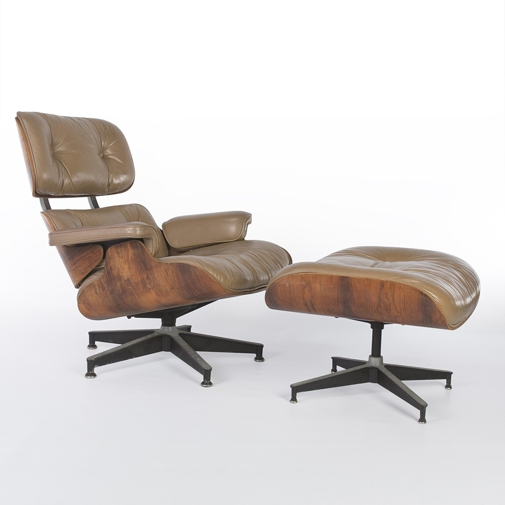 Beige rosewood eames lounge chair ottoman by charles for Charles eames lounge chair nachbildung