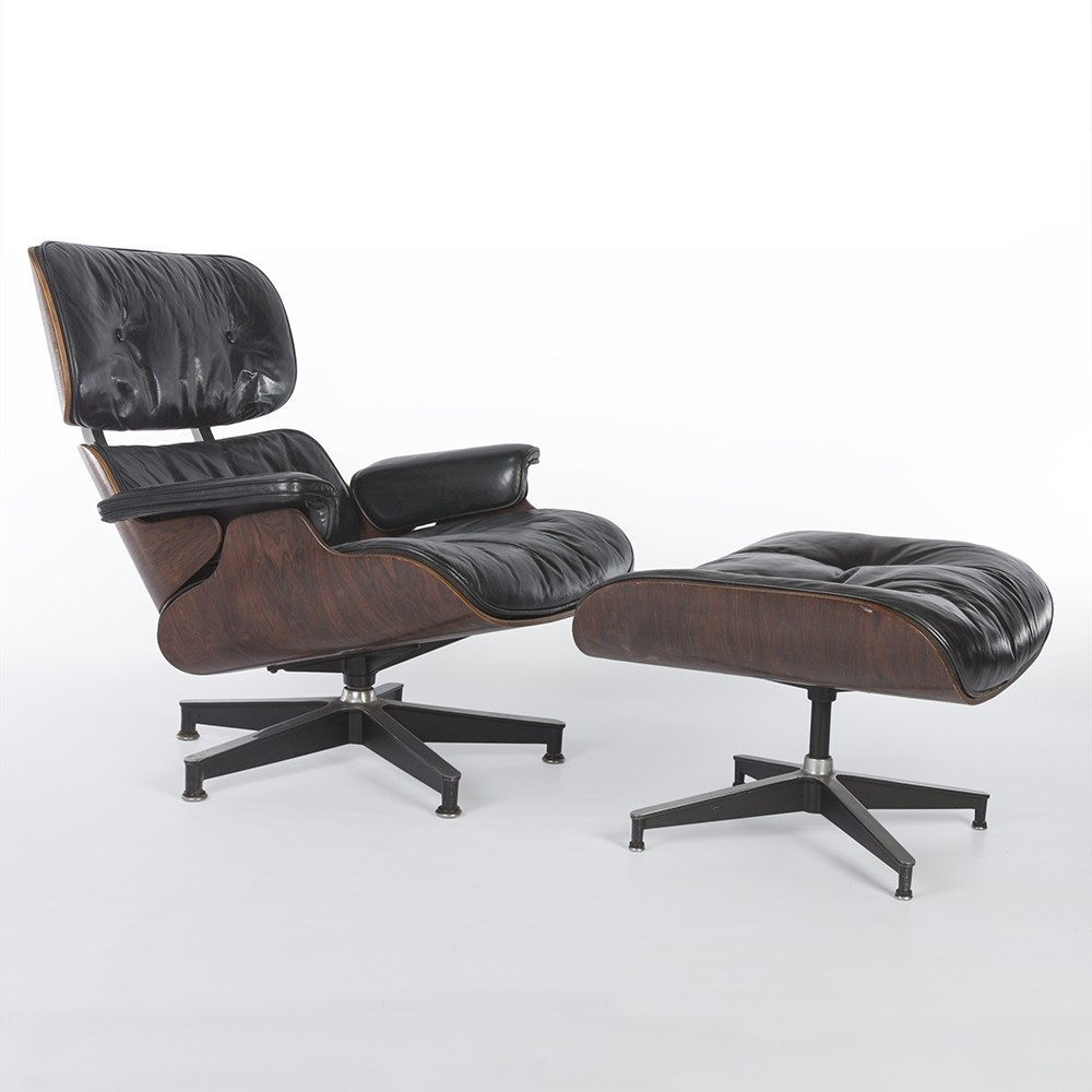 Early rosewood eames lounge chair ottoman by charles for Charles eames lounge chair nachbildung