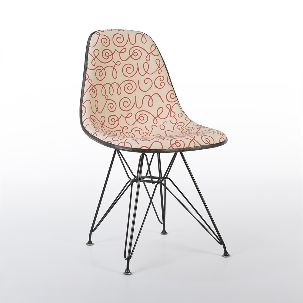 Bon Vintage Eames Eiffel DSR Chair With Red Names Alexander Girard Upholstery