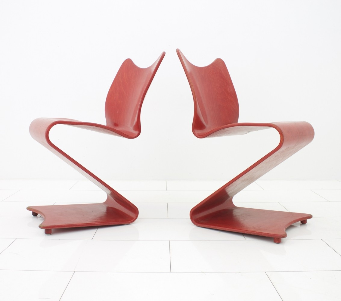 rare red s 275 chairs by verner panton for thonet 58073. Black Bedroom Furniture Sets. Home Design Ideas