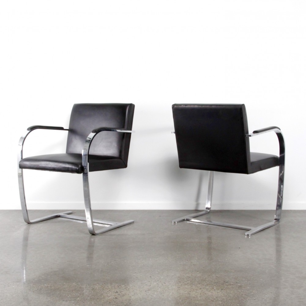 8 x brno arm chair by ludwig mies van der rohe for knoll 1980s 58317. Black Bedroom Furniture Sets. Home Design Ideas