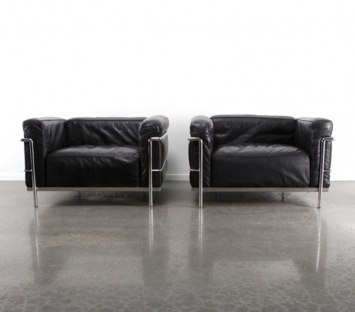 set of 2 lc3 grand comfort arm chairs from the eighties by le corbusier u0026 charlotte perriand for cassina - Arm Chairs