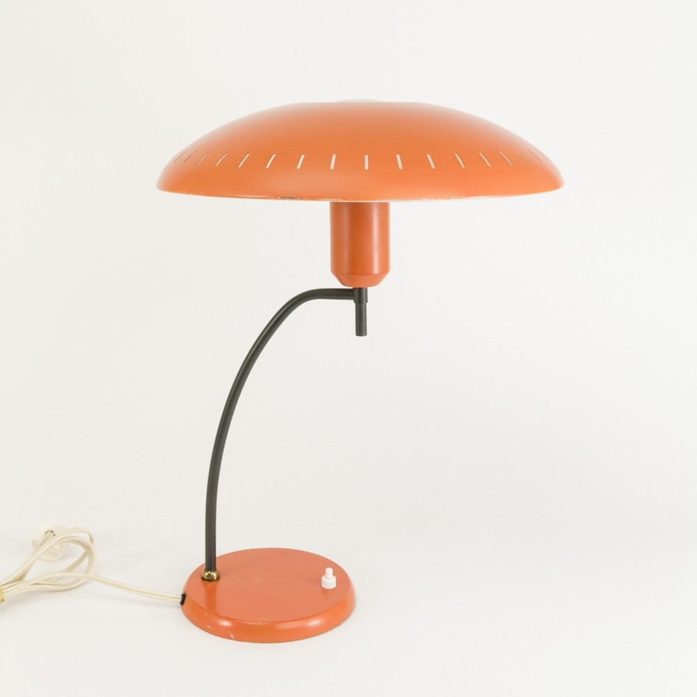 Orange Metal Table Lamp by Louis Kalff for Philips, 1950s