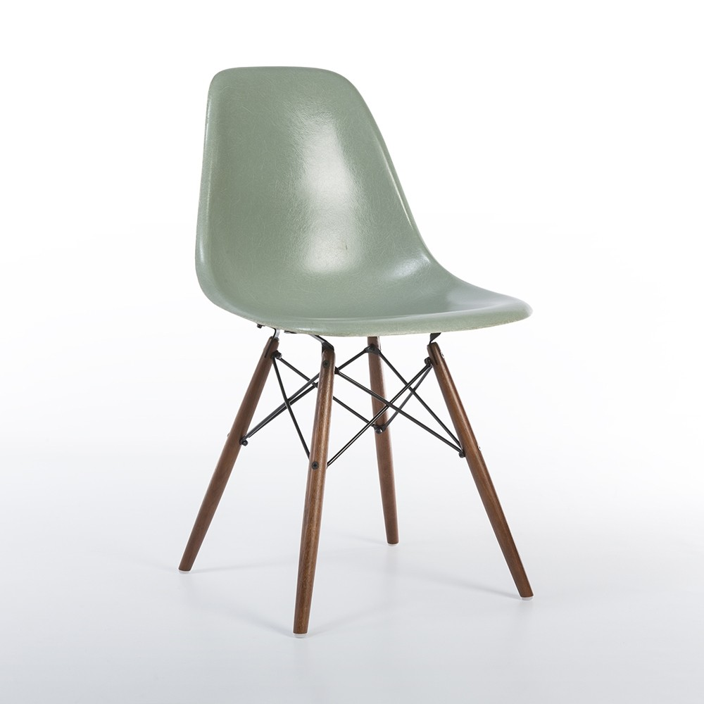 18 Seafoam DSW Dowel Leg dinner chairs from the sixties by Charles & Ray Eames for Herman Miller