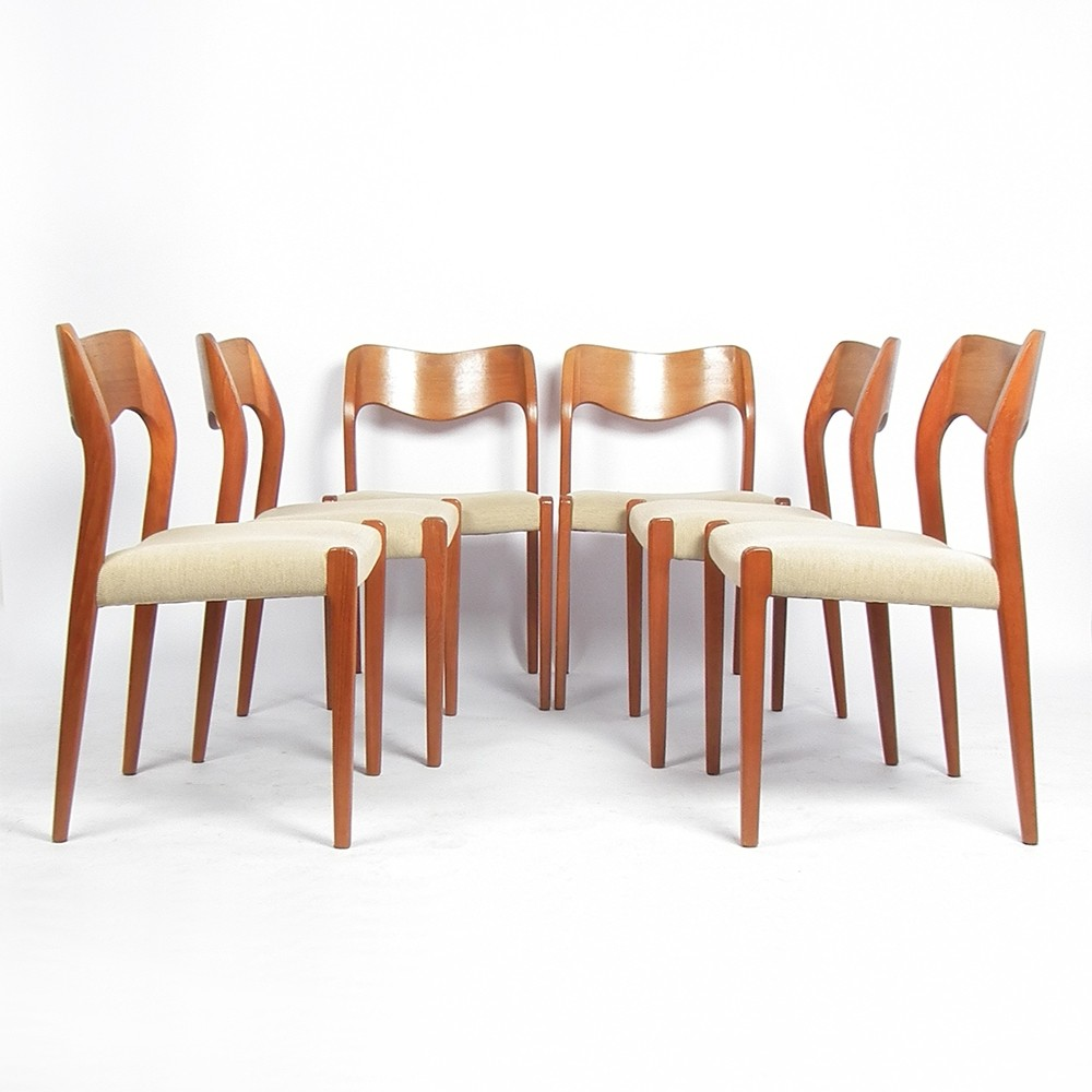 set of 6 oak model 71 dinner chairs by niels o møller for jl