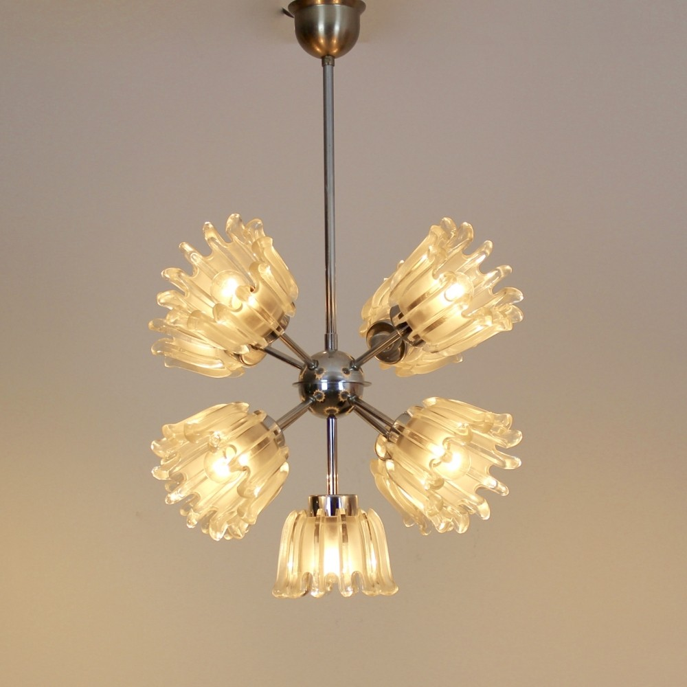 Chrome & Frosted Tulip Glass Chandelier by Doria   #59420