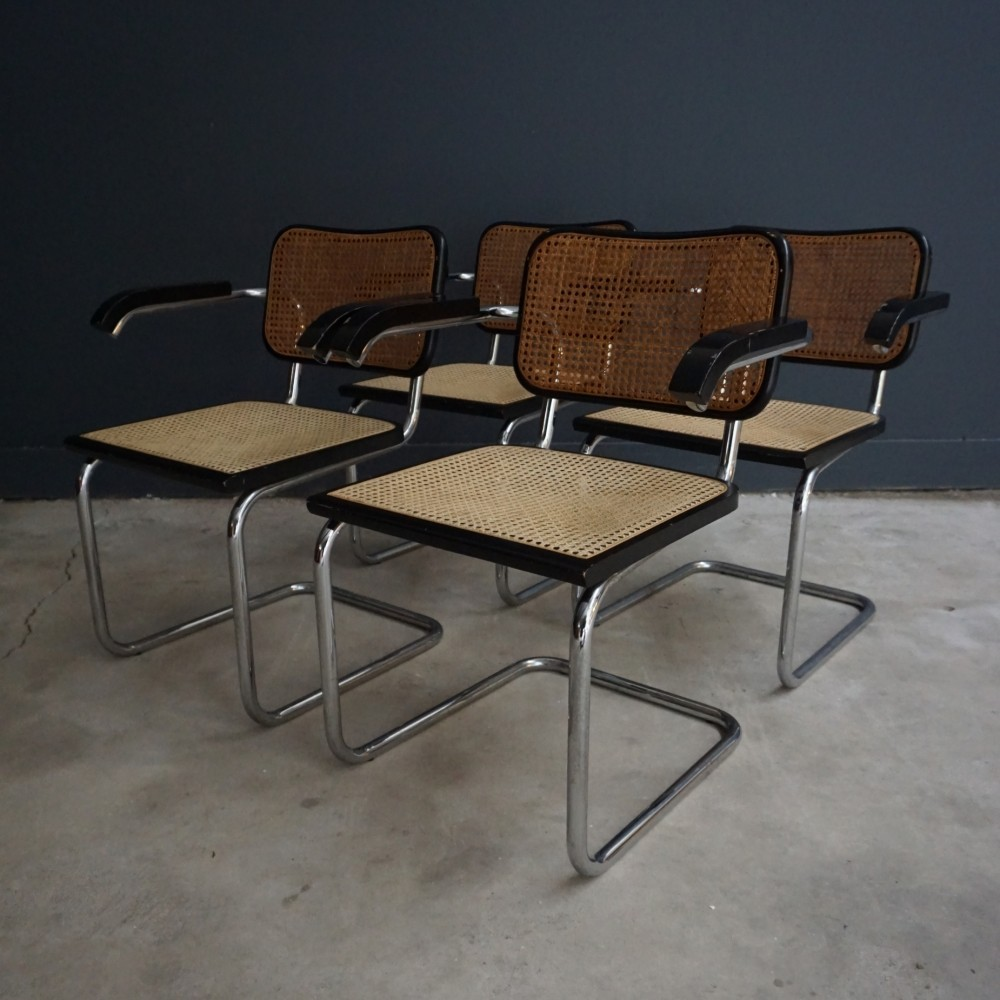 set of 4 dinner chairs by marcel breuer for cidue 1960s 59852. Black Bedroom Furniture Sets. Home Design Ideas