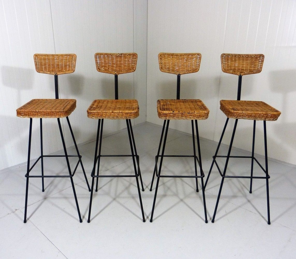 Set Of 4 Rattan Bar Stools From The Fifties 59994