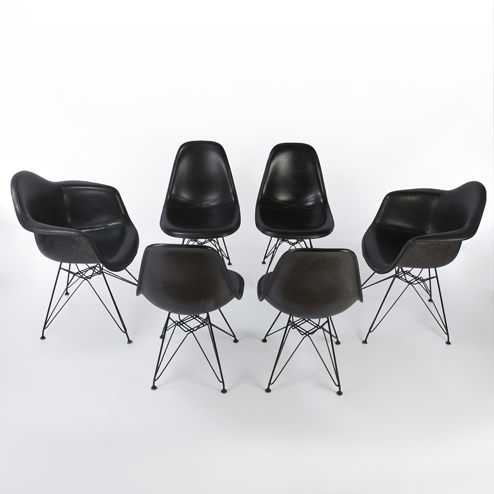 Charles amp ray eames eames dsw side chair fiberglass replica - Set Of 6 All Black Fiberglass Arm Side Shells On Black Eiffel Bases Dinner Chairs By