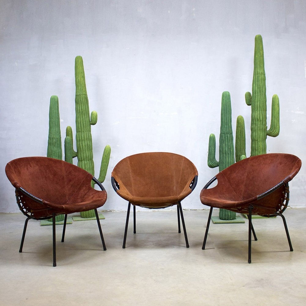 Set of 3 lounge chairs from the sixties by Unknown Designer for Lusch Germany