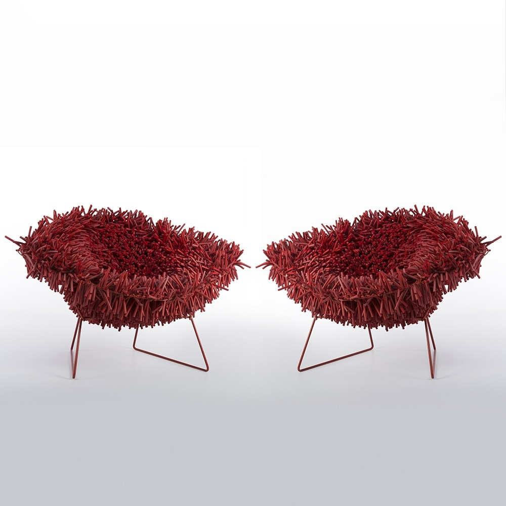 Bertoia diamond chair vintage - Pair Of Harry Bertoia Hairy Diamond Chairs By Douglas Homer