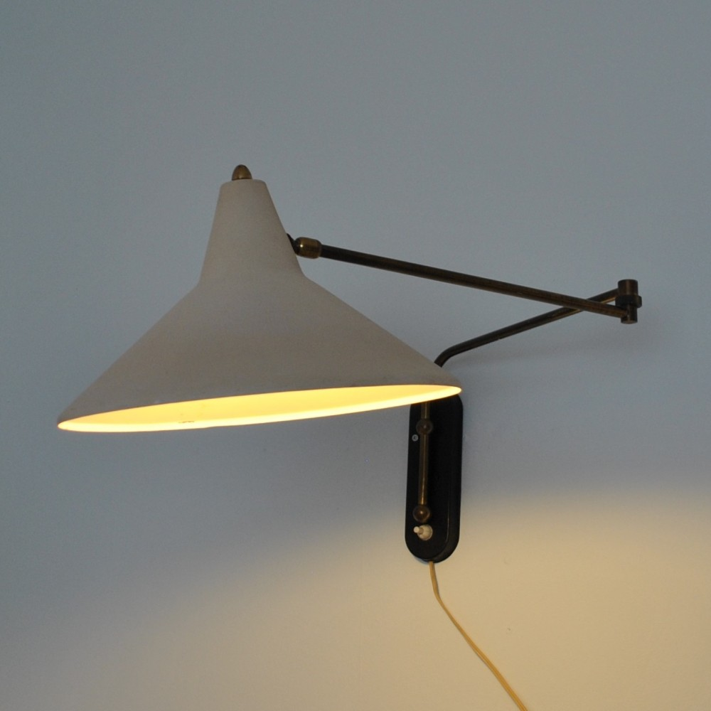 Ellbow wall lamp by J. Hoogervorst for Anvia Almelo, 1950s