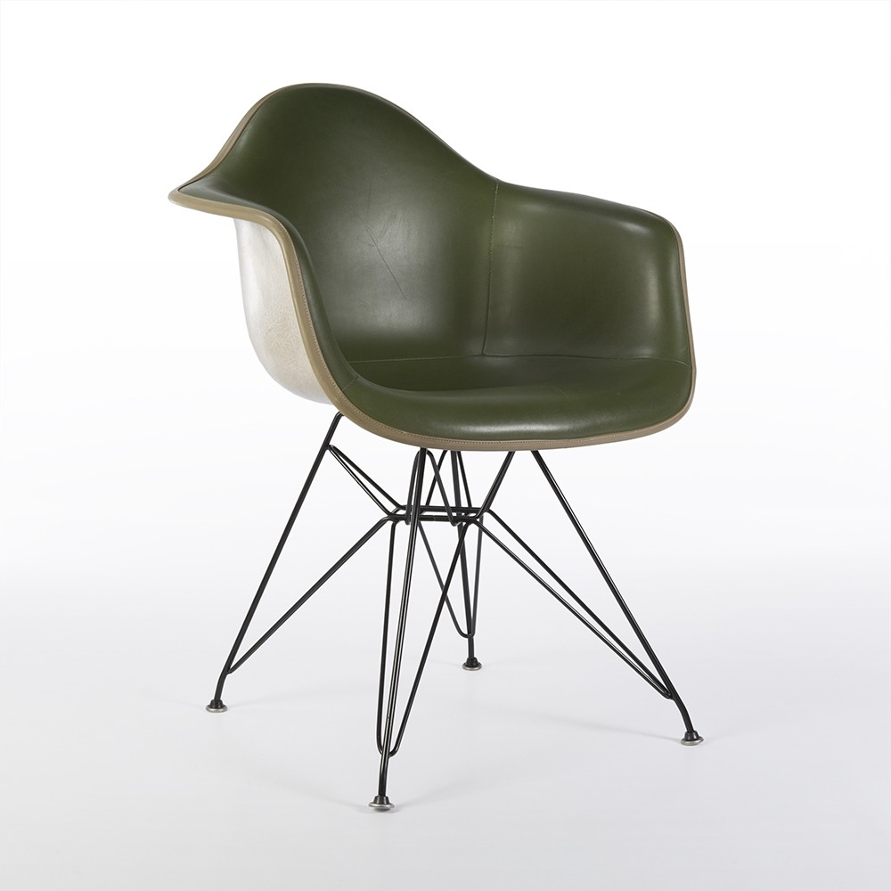 original green upholstered eames greige shell dar chair 60869. Black Bedroom Furniture Sets. Home Design Ideas